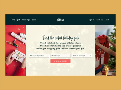 giftso | Day 26 of the Web Design Challenge holiday christmas wrapping gift gift finder website designer website builder header hero header hero banner website design website concept ux webdesign ui concept uxui logo website branding