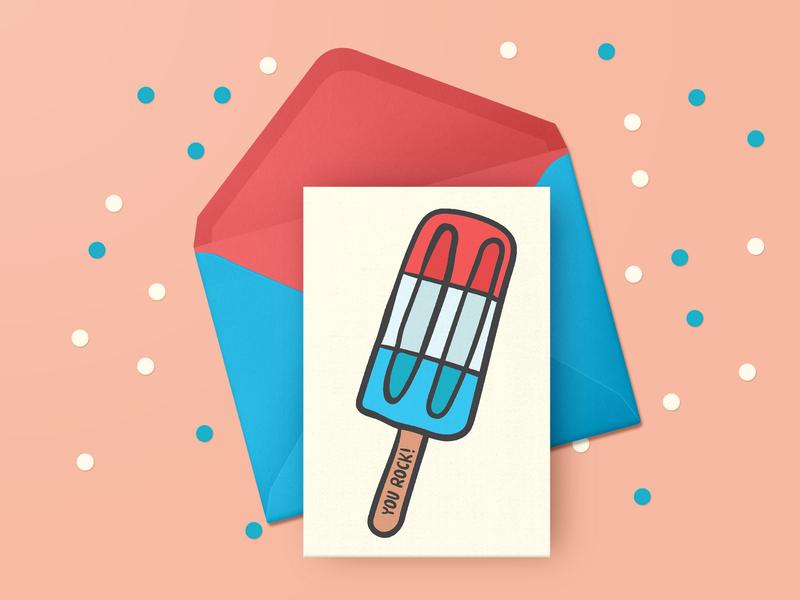 Rocket Popsicle Illustration Greeting Card
