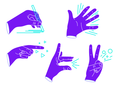Hands gesture bright hands purple