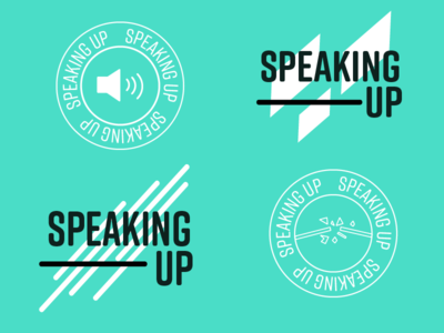 Discarded Logo Concepts breaking speaker loud direction up round speaking