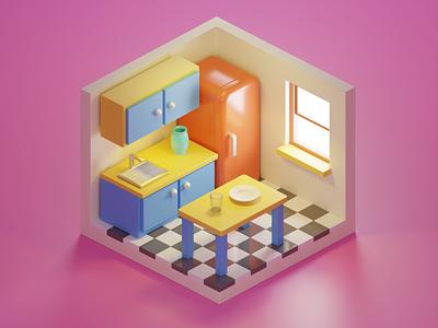 Kitchen cartoon house kitchen illustration render blender 3d icon 3d illustration 3d