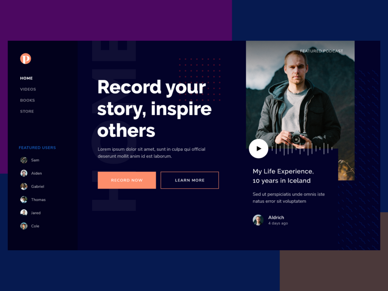 #Rebound - Podcast Landing Page streaming podcast web mockup ui design adobexd user interface design desktop design landing page landing homepage website home desktop clean card