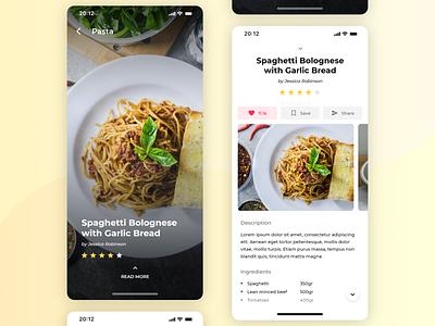 Recipe book app flat iphone ios food app recipe book recipe app recipe food app adobexd design mockup ui clean
