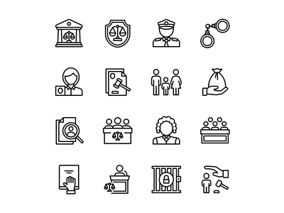 Icons - Law black and white explore web ui icon designs vector icon jail police justice law icon design line icon lineal iconography icon set icons