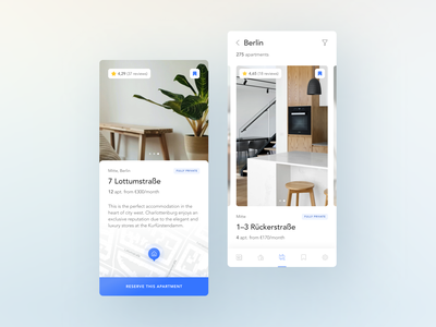Apartments For Rent — Search :) travel design mobile application app minimal clean ux ui