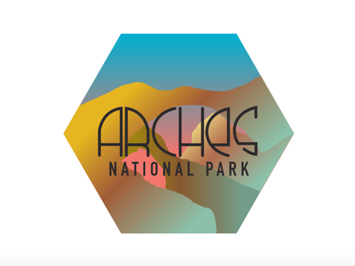 Arches National Park typography sticker illustration national parks