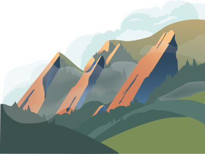 The Flatirons, Boulder sticker illustration landscape colorado boulder