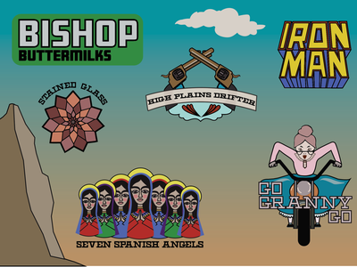 Bishop - The Buttermilks bouldering climbing sticker collection graphic design