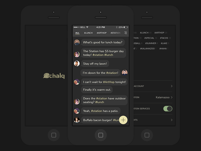 Introducing Chalq mobile app iphone chat messages local chalk dark