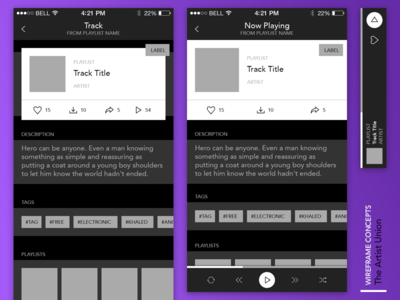 The Artist Union Wireframes the artist union interaction itunes spotify track label audio wireframes app music ui ux