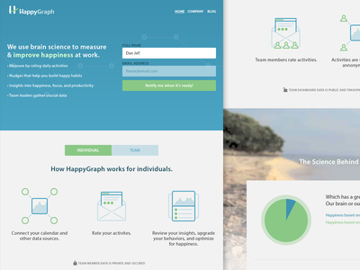 HappyGraph Landing Page sign up form buttons gradient responsive mobile web site ui ux web