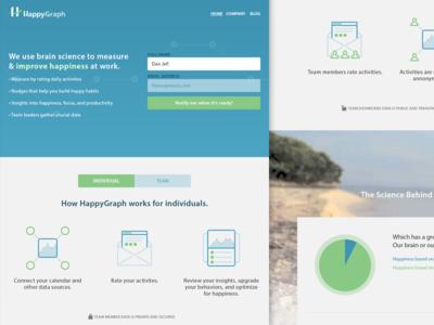 HappyGraph Landing Page sign up form buttons gradient responsive mobile web site ui ux web