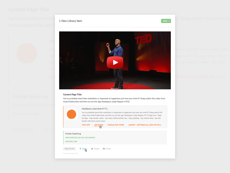 Content Block Example hover buttons share social responsive mobile web app ui ux content