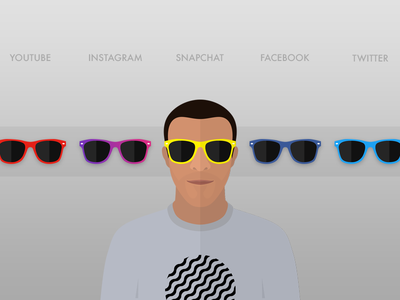 Avatar w/ Swappable Shades twitter facebook snapchat instagram youtube cartoon avatar shades sunglasses illustration icon