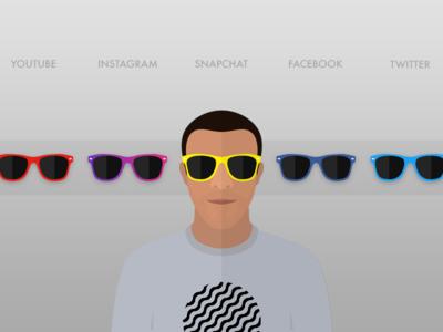 Avatar w/ Swappable Shades twitter facebook snapchat instagram youtube cartoon avatar shades sunglasses illustration icon