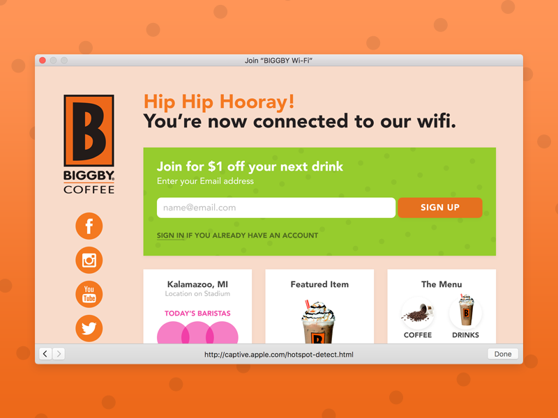 Biggby Wifi Success Screen Concept coffee michigan form icons web ia login wifi ui ux biggby
