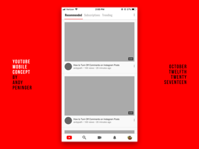 Youtube Mobile Concept interface iphone youtube app google ui ux mobile app youtube