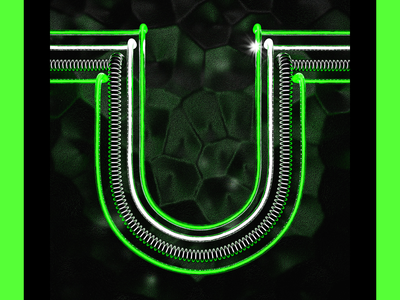 glowy U type 3d illustration neon 3d typography letter
