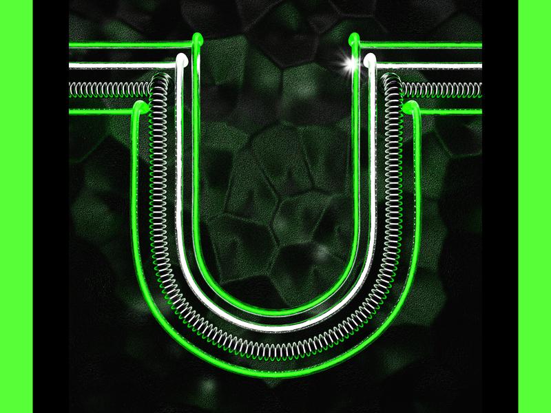 glowy U type 3d illustration neon 3d typography letter