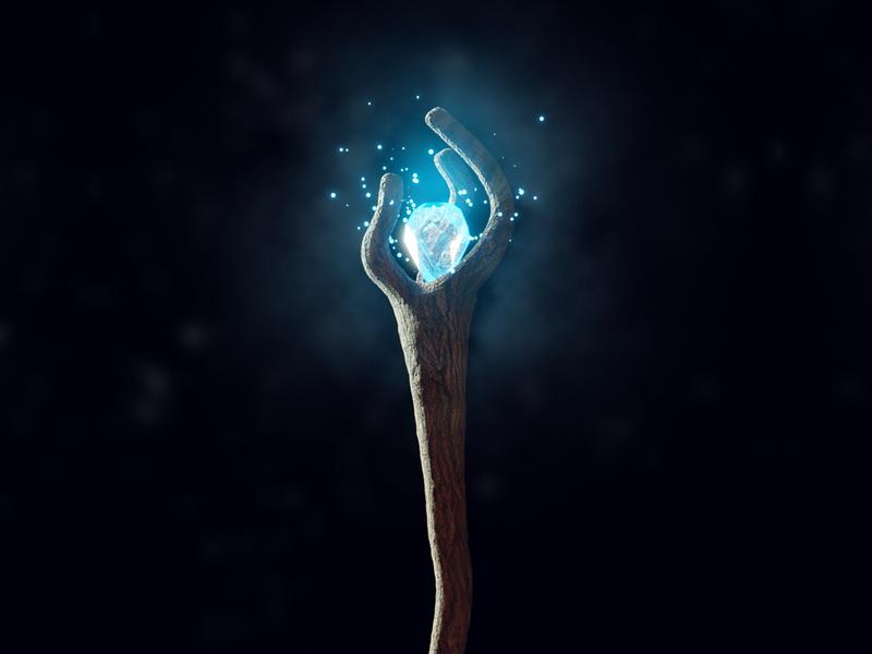 wizard staff cartoon fantasy crystal gem 3d pixar onward 3d illustration illustration staff magic wizard