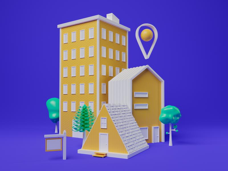 real estate biz building cabin house look and feel branding 3d illustration 3d illustration real estate