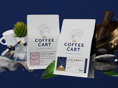 Luminosity and High Vibes identity logo render peace energy monkey package design label illustration branding packaging coffee