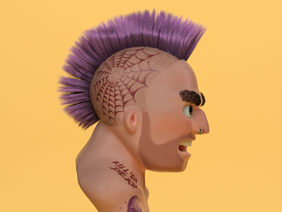 a real tough customer zbrush tattoos mohawk illustration character sculpt 3d punk