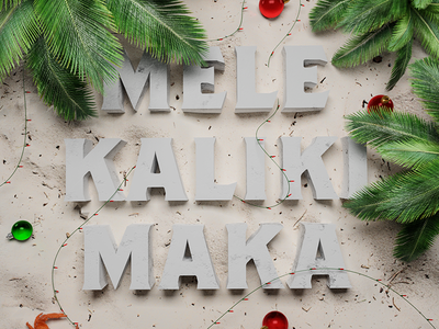 Mele Kalikimaka greeting card illustration crab palm tree holidays holiday christmas hawaii beach typography 3d type 3d illustration 3d