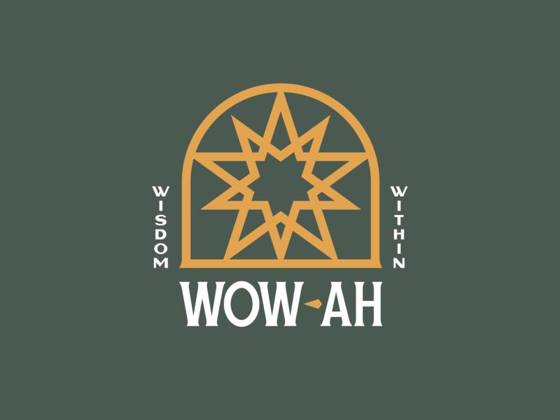 Wow-ah portal sacred geometry branding design star logotype lettering identity branding logo