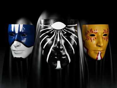 Masks 3d art render 3d iluustration 3d disguise masks mask