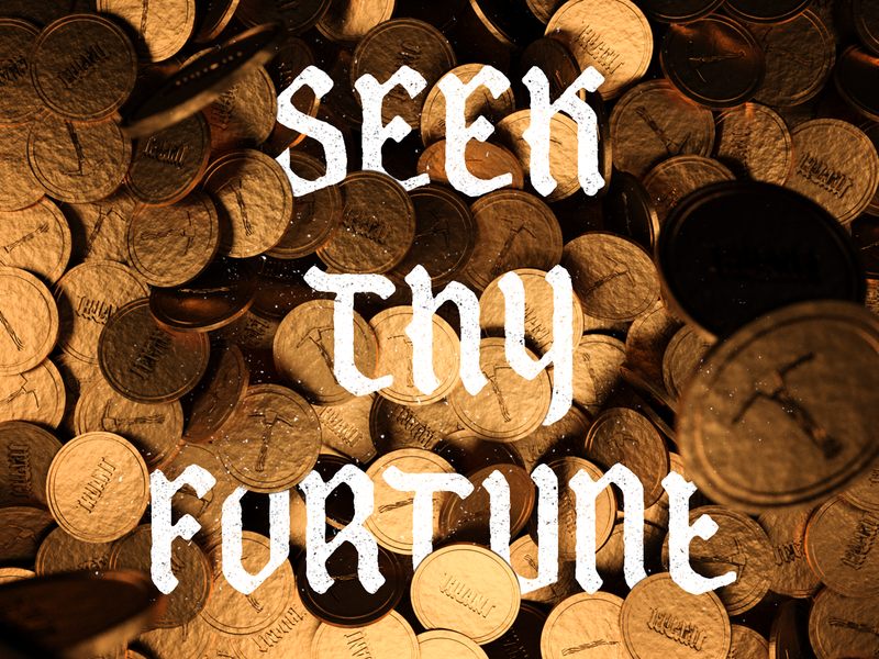 Fortune pirate typography 3d illustration render 3d coins gold fortune treasure money type