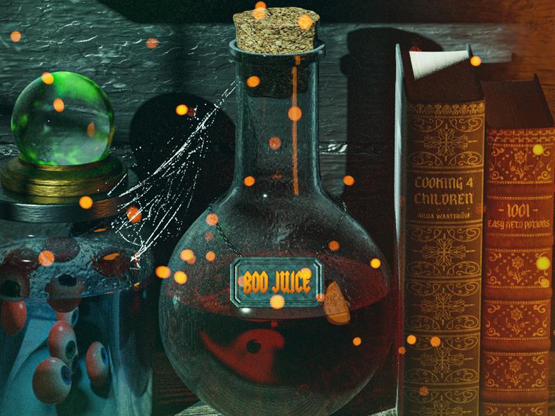 Witch Pantry cookbook ingredients halloween design cartoon scary eyeballs render 3d illustration 3d eerie creepy spooky witch halloween