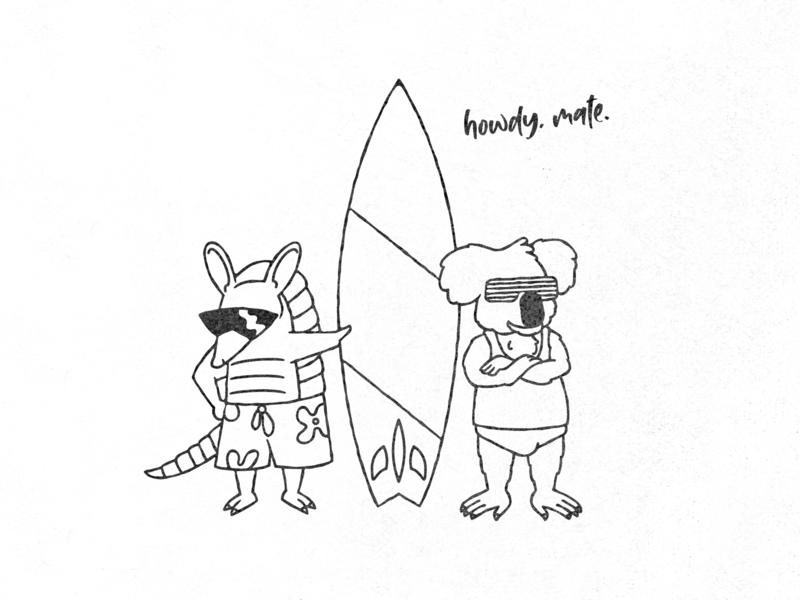howdy, mate cartoon tshirt illustration austin texas australia koala armadillo