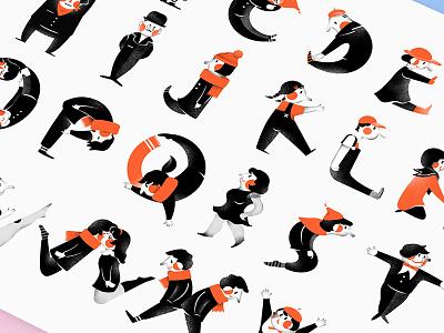 Alphabets illustration 2 letters design graphic cute character black red illustration alphabets