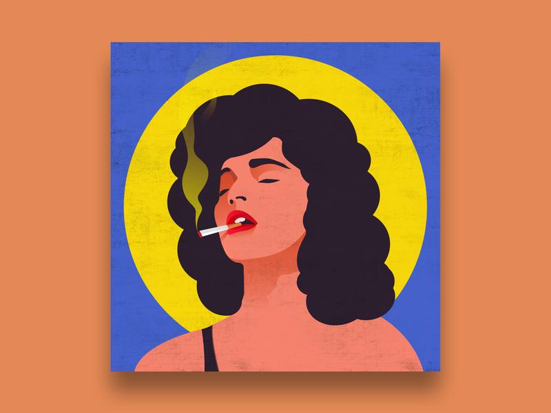 Smoking Lady wacom popart drawing fashion design character art adobeillustrator illustration