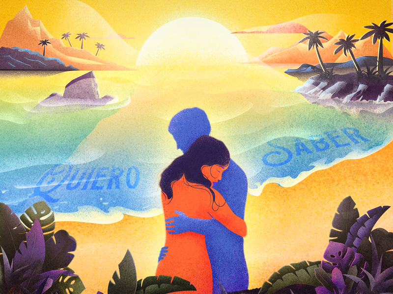 Quiero saber love beach orange tropical leafs palms sunrise lovers music video single sunset beach vibes illustration cinema 4d 3d design tropical
