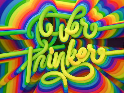 OVERTHINKER lettering 3dartist type colors artist letteringartist overthink 3dlettering 3d