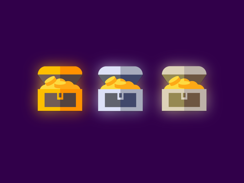 treasure chest icon with three levels