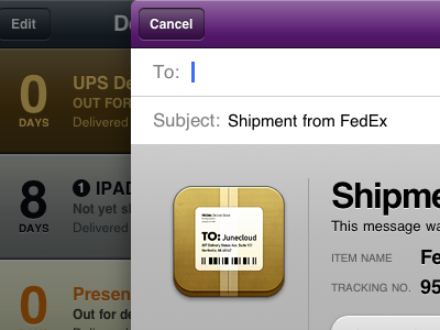 Delivery Status for iPad: Sharing