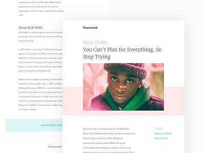 Teamweek Newsletter minimal blog video minimal pastel newsletter typography branding ui