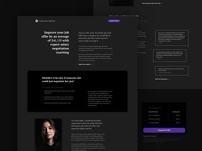 Fearless Salary Negotiation Landing page page landing type serif grayscale black website design flat ui typography branding