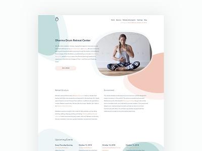 Dharma Drum Retreat Center Homepage ovals wellness health meditiation yoga pastel vector shapes web design branding typography homepage