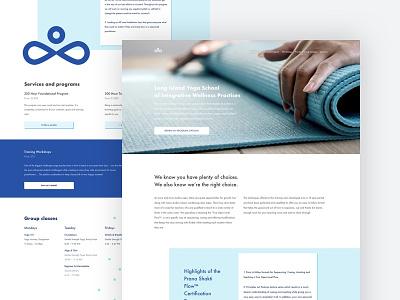 Long Island Yoga School Homepage offset boxes flow flat minimal light blue homepage landing page school studio yoga
