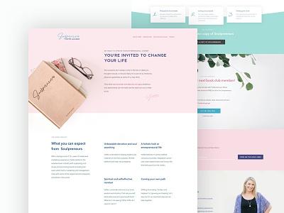 Soulpreneurs Homepage ux web blue images background minimal flat design ui pastel typography branding coaching coach page landing entrepreneur ebook book homepage