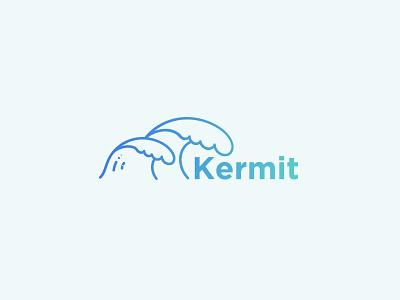 Kermit Logo school surf wave minimal green gradient blue neon pastel flat vector logo typography branding