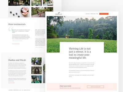 Thriving Life homepage wordpress detox retreat nature ui ux homepage minimal branding