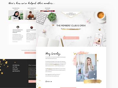 Female Entrepreneur Association Landing Page ux typography homepage ui minimal black pink gold sparkle feminine landing page