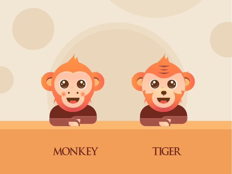 monkey and tiger icon illustration design