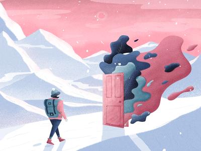 Open The Doors Of The New Year pastel smashing magazine smashing mountains snow door winter wallpaper illustration