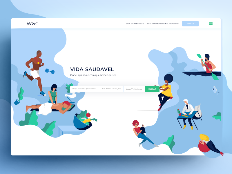 Illustrated landing page web web design ui ux illustration clean landing landing page sport medicine search business